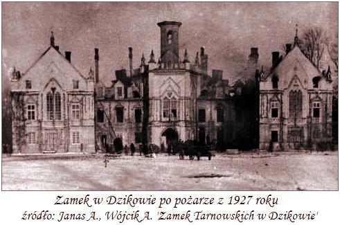 Zamek_w_Dzikowie_po_pożarze_1927r